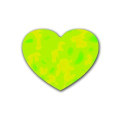 Simple yellow and green Rubber Coaster (Heart)