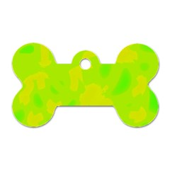 Simple yellow and green Dog Tag Bone (One Side)