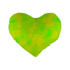 Simple yellow and green Standard 16  Premium Heart Shape Cushions