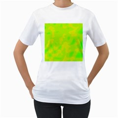 Simple yellow and green Women s T-Shirt (White)