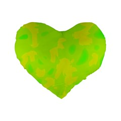 Simple yellow and green Standard 16  Premium Flano Heart Shape Cushions