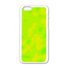 Simple yellow and green Apple iPhone 6/6S White Enamel Case