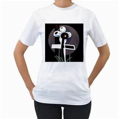Dark Women s T-Shirt (White) (Two Sided)