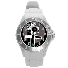 Dark Round Plastic Sport Watch (L)