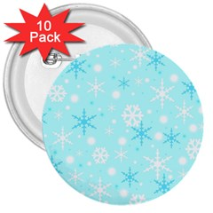 Blue Xmas pattern 3  Buttons (10 pack)