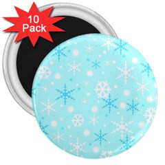 Blue Xmas pattern 3  Magnets (10 pack)
