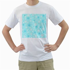 Blue Xmas pattern Men s T-Shirt (White) (Two Sided)