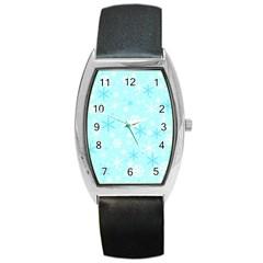 Blue Xmas pattern Barrel Style Metal Watch
