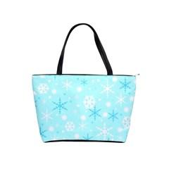 Blue Xmas pattern Shoulder Handbags