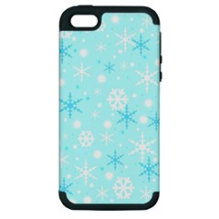 Blue Xmas pattern Apple iPhone 5 Hardshell Case (PC+Silicone)