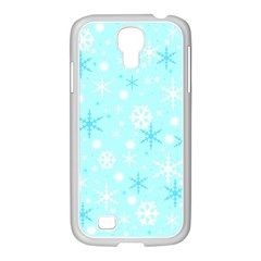 Blue Xmas pattern Samsung GALAXY S4 I9500/ I9505 Case (White)