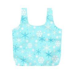 Blue Xmas pattern Full Print Recycle Bags (M)