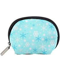 Blue Xmas pattern Accessory Pouches (Small)