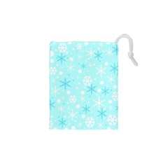Blue Xmas pattern Drawstring Pouches (XS)
