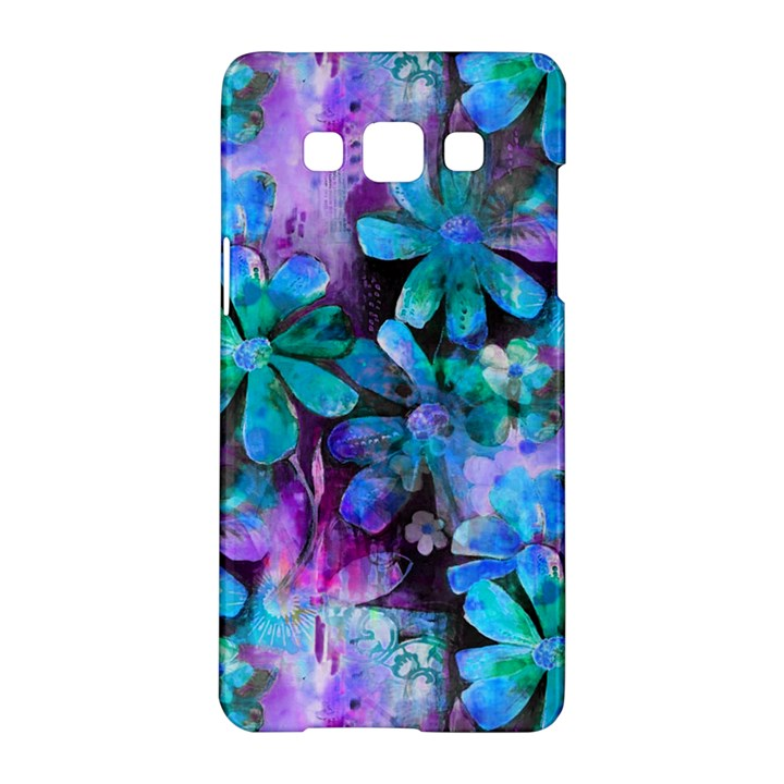 Blue on Purple Vintage Flowers Samsung Galaxy A5 Hardshell Case