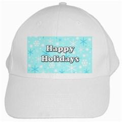 Happy holidays blue pattern White Cap