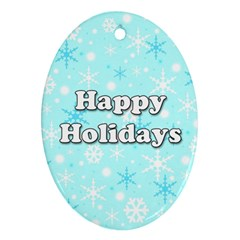 Happy holidays blue pattern Ornament (Oval)