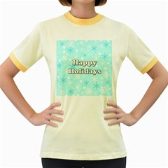 Happy holidays blue pattern Women s Fitted Ringer T-Shirts