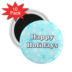 Happy holidays blue pattern 2.25  Magnets (10 pack)