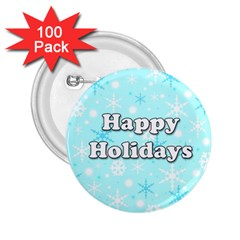 Happy holidays blue pattern 2.25  Buttons (100 pack)