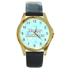 Happy holidays blue pattern Round Gold Metal Watch