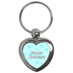 Happy holidays blue pattern Key Chains (Heart)
