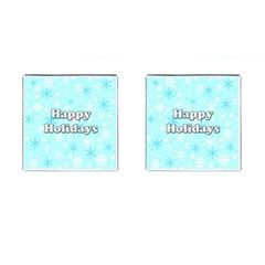 Happy holidays blue pattern Cufflinks (Square)