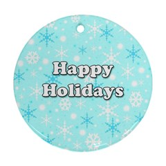 Happy holidays blue pattern Round Ornament (Two Sides)