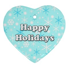 Happy holidays blue pattern Heart Ornament (2 Sides)