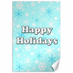 Happy holidays blue pattern Canvas 20  x 30