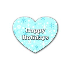 Happy holidays blue pattern Rubber Coaster (Heart)