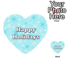 Happy holidays blue pattern Multi-purpose Cards (Heart)