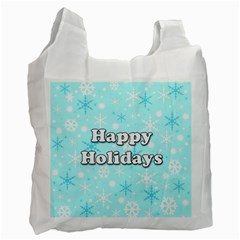 Happy holidays blue pattern Recycle Bag (One Side)