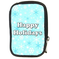 Happy holidays blue pattern Compact Camera Cases