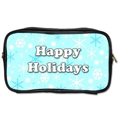 Happy holidays blue pattern Toiletries Bags