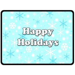 Happy holidays blue pattern Fleece Blanket (Large)