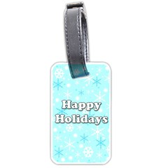 Happy holidays blue pattern Luggage Tags (Two Sides)