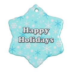 Happy holidays blue pattern Ornament (Snowflake)