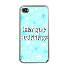 Happy holidays blue pattern Apple iPhone 4 Case (Clear)