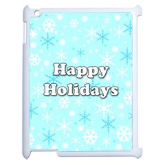 Happy holidays blue pattern Apple iPad 2 Case (White)