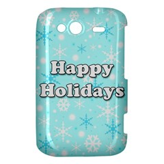 Happy holidays blue pattern HTC Wildfire S A510e Hardshell Case
