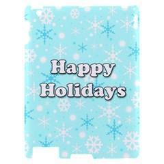 Happy holidays blue pattern Apple iPad 2 Hardshell Case