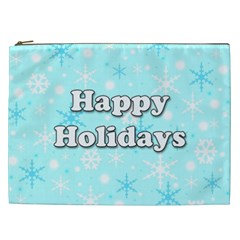 Happy holidays blue pattern Cosmetic Bag (XXL)