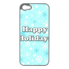 Happy holidays blue pattern Apple iPhone 5 Case (Silver)