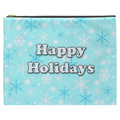 Happy holidays blue pattern Cosmetic Bag (XXXL)