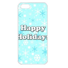 Happy holidays blue pattern Apple iPhone 5 Seamless Case (White)