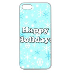 Happy holidays blue pattern Apple Seamless iPhone 5 Case (Clear)