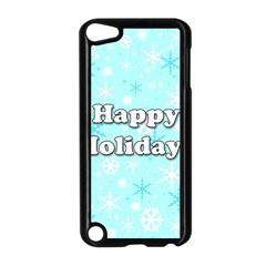 Happy holidays blue pattern Apple iPod Touch 5 Case (Black)