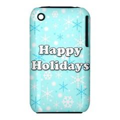 Happy holidays blue pattern Apple iPhone 3G/3GS Hardshell Case (PC+Silicone)