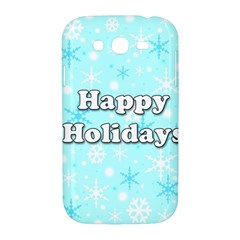 Happy holidays blue pattern Samsung Galaxy Grand DUOS I9082 Hardshell Case